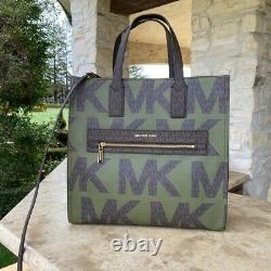 Nwt Michael Kors Kenly Lg Ns Signature Tote/ Double Zip Wallet Options Evergreen