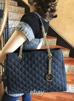 Nwt, Michael Kors Large Susannah Quilted Denim&leather Shoulder Handbag $428