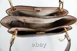 Nwt Michael Kors Nicole Large Pvc Leather Shoulder Tote Mk Brown/blossom