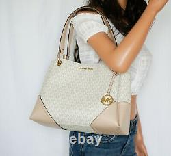 Nwt Michael Kors Nicole Large Pvc Leather Shoulder Tote Mk Vanilla/ballet