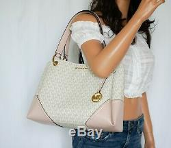 Nwt Michael Kors Nicole Large Pvc Leather Shoulder Tote Mk Vanilla/blossom