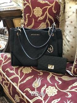 Nwt Michael Kors Nicole Large Shoulder Signature Tote Handbag+wallet Set