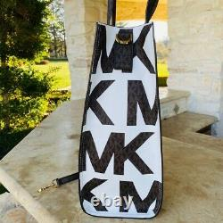 Nwt Michael Kors Signature Kenly Lg Ns Tote/ Double Zip Wallet Options White