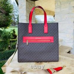 Nwt Michael Kors Signature Kenly Lg Ns Tote/wallet Options Brwon/flame
