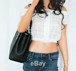 Nwt Michael Kors Sofia Large Leather Tote Shoulder Bag Black