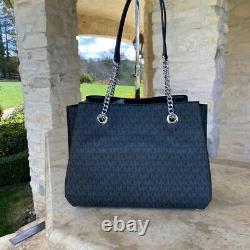 Nwt Michael Kors Teagen Large Shoulder Bag Mk Black Signature/wallet Options