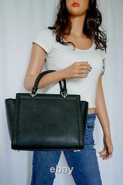 Nwt Michael Kors Tina Large Top Zip Leather Satchel Shoulder Bag Purse Black
