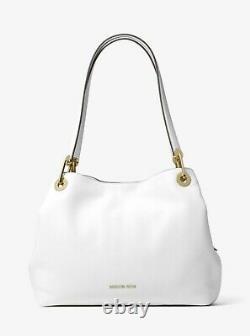 Nwt Michael Michael Kors Raven Large Leather Shoulder Bag Tote Optic White Gold