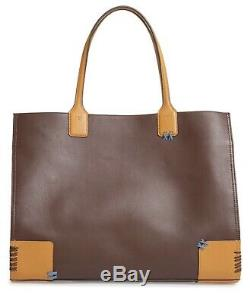 Nwt Tory Burch $598 Ella Whipstitch Large Leather Logo Tote Handbag Suede Brown
