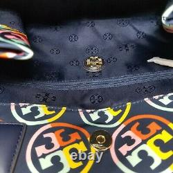 Nwt Tory Burch Logo Printed Ella Nylon Navy Blue Leather Large Tote Shoulder Bag