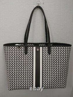 Nwt Tory Burch T Zag Black Coated Canvas Leather Large Tote Shoulder Bag Purse