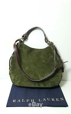 Polo Ralph Lauren Equestrian Brown Leather/olive Suede Women Hobo Bag