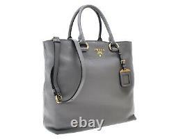 Prada Leather Tote Large Shoulder Bag Grey New