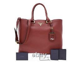 Prada Leather Tote Large Shoulder Bag Red New