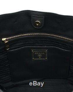 Prada Tote Shoulder Bag Black Leather Large New
