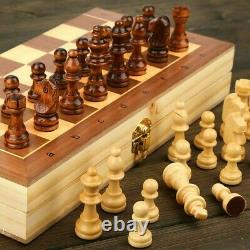 QUEENS GAMBIT Magnetic Folding Wood Large Chess Set Adult Kid Felted Game Board