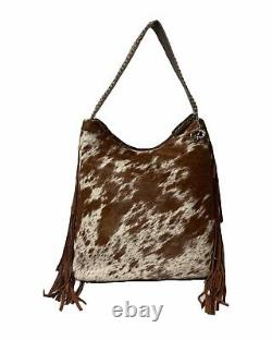 Raviani Western Hobo Design In Speckle Hide Leather WithFringe &Silver Studs