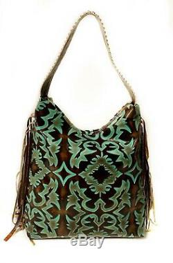 Raviani Western Hobo In Brown & TQ Laredo Cowhide Leather WithFringe & Crystals