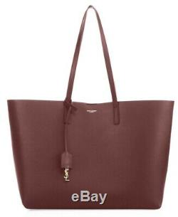 Saint Laurent Large Wine Leather Shopper Tote New With Tags