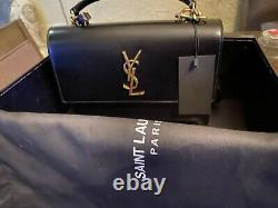 Saint Laurent Large sunset bag in black leather