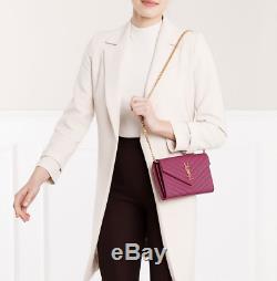 Saint Laurent YSL Large Envelope Leather Chain Wallet Crossbody Bag Purple NWT