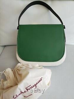 Salvatore Ferragamo Green Neva Shoulder Ssddle Bag $1990 SOFT Italy (RF-21F670)
