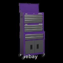 Sealey AP2200BBCPSTACK Top Chest, Mid-Box & Roll Cab 9 Drawer Stack Purple