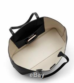 TORY BURCH Brody Tote Handbag Shoulder Bag Pebbled Leather BLACK (49122)