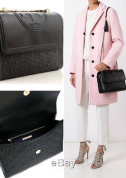TORY BURCH Large Fleming Convertible Shoulder Bag NWT Black 31381 Authentic sale