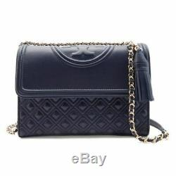 TORY BURCH Large Fleming Convertible Shoulder Bag NWT navy blue sales Authentic