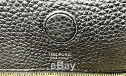Tom Ford Womens Alix Leather Front Zip Hobo Tote Handbag Black NEW