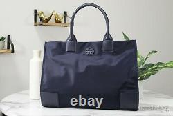 Tory Burch (55528) Ella Nylon Leather Detail Dark Navy Blue Tote Handbag Bag