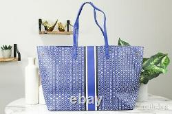 Tory Burch (60497) Large Jewel Blue Coated Canvas Gemini Link Tote Hand Bag