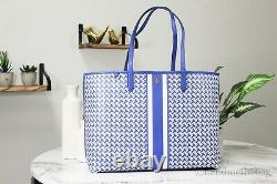 Tory Burch (64206) Large Coated Canvas T Zag Jewel Blue Multifunctional Tote Bag