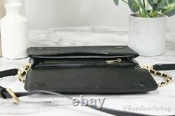 Tory Burch (73507) Britten Large Black Pebble Leather Crossbody Clutch Handbag