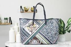 Tory Burch (75335) Kerrington Square Blue Floral Printed Shoulder Tote Handbag