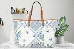 Tory Burch 80114 Kerrington Terrace Ditsy Floral Printed Leather Square Tote Bag