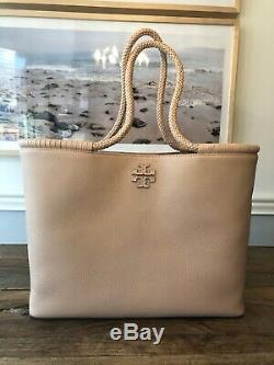 Tory Burch Devon Sand Leather Taylor Braided Handles Tote Bag Nwt