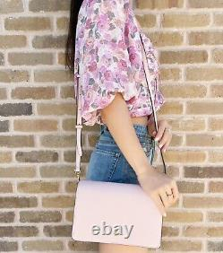 Tory Burch EMERSON Robinson Combo Large Crossbody Bag Clutch Light Pink Leather