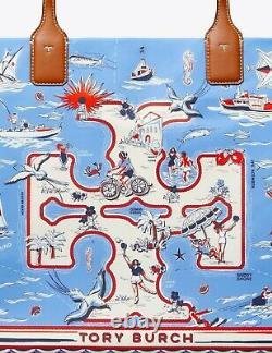 Tory Burch Ella Printed Tote Bag Blue Marina NWT