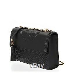 Tory Burch Fleming Black Leather Convertible Shoulder Bag Purse LARGE BLACK