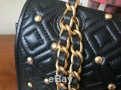 Tory Burch Fleming Stud Quilted Lambskin leather large shoulder bag black new