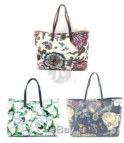 Tory Burch Large Kerrington Square Tote Coated Canvas Leather Handbag Bag