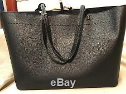 Tory Burch McGraw Large Tote Bag Black Leather handbag tote Authentic new