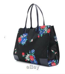 Tory Burch NEW Ella Printed Black Tea Rose Logo Tote Bag Authentic $228