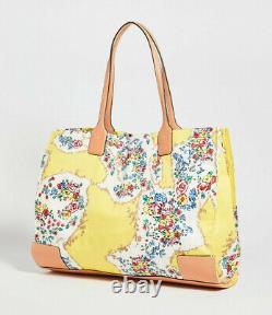 Tory Burch Nylon Printed ELLA TOTE NWT Floral Yellow
