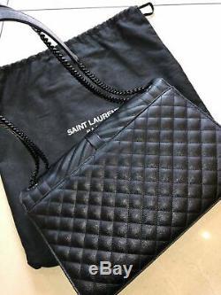 Ysl Saint Laurent Large Envelope Chain Bag In Black Textured Mixed Matelassé