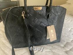 $1495 Burberry Calf Grain Leather Dewsbury Large Fourre-tout Noir 100% Authen