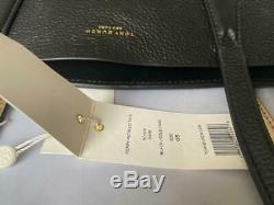 $ 398 Nwt Tory Burch Perry Réversible Noir Métallisé Or Pebbled Fourre-tout En Cuir