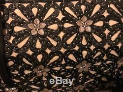 520 $ Nwt Brighton Gloria Cut Out Fleurs Fourre-tout En Cuir Noir Sac À Bandoulière